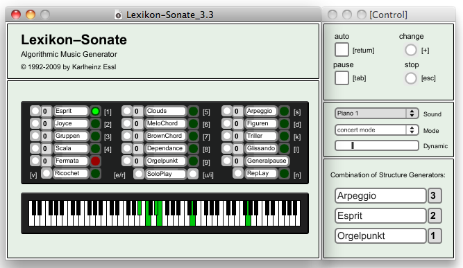 User-Interface der Lexikon-Sonate