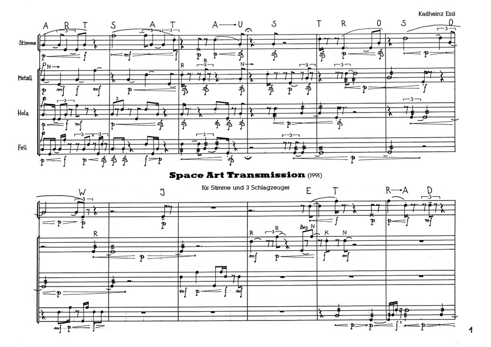 Space Art Transmission: page 1 of the score
