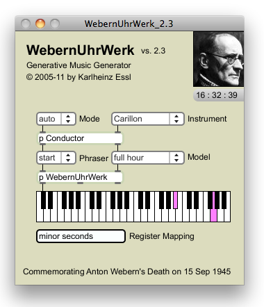 User interface of WebernUhrwerk 2.3